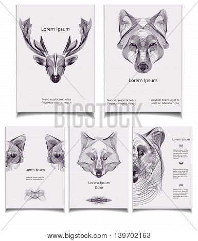 Hipster vector template set. Wild animals illustration for posters greeting cards flyers and banners web designs. Anniversary holiday wedding business birthday party invitations.