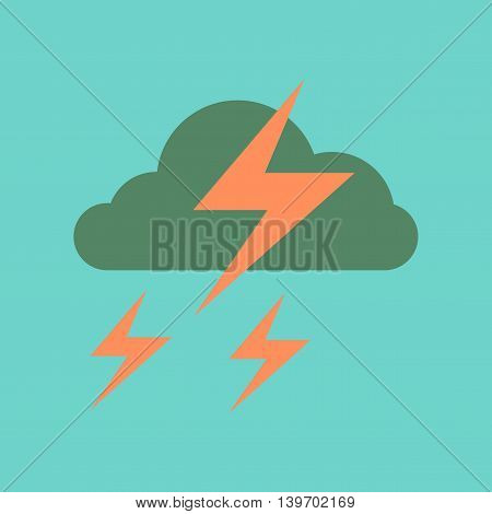 flat icon on stylish background nature lightning cloud