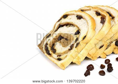 sliced raisin bread isolated on white background