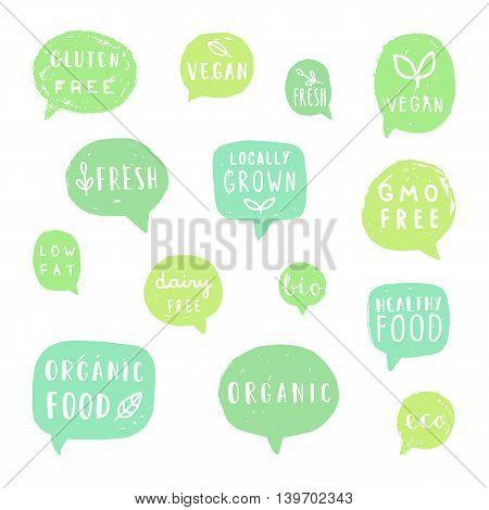 Set of hand drawn food bubbles. Vector illustration