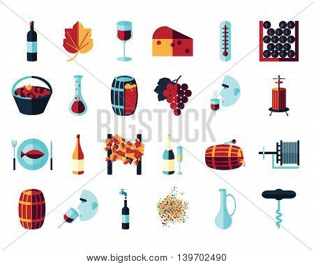 Vector colored flat icon set. Winemaking theme: barrel bottle wineglass wine vineyard degustetion crushing pressing bottling . Flat color wine icons for polygraphy web design logo app UI.