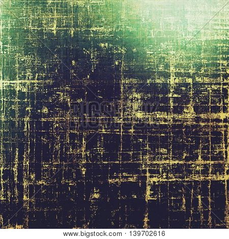 Grunge retro texture, aged background with vintage style elements and different color patterns: yellow (beige); brown; black; green; blue; purple (violet)