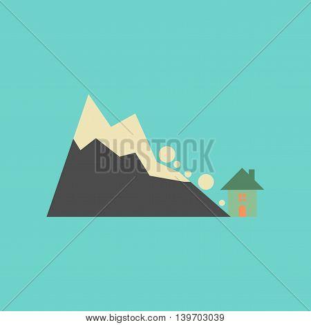flat icon on stylish background nature House avalanche