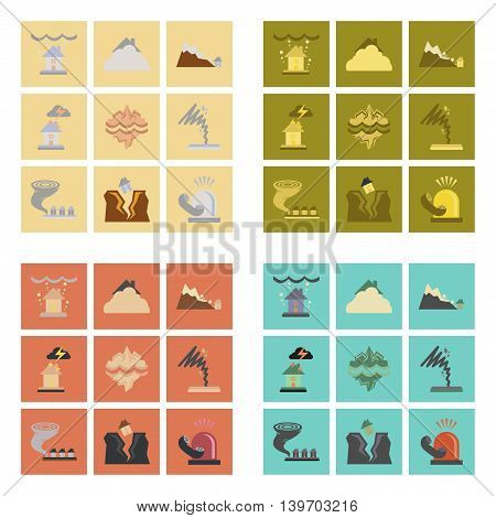 assembly of flat icons natural danger disasters