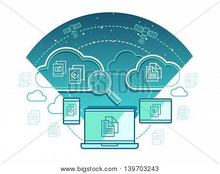 Information technology concept. Communication network, computer connection with cloud data, vector illustration