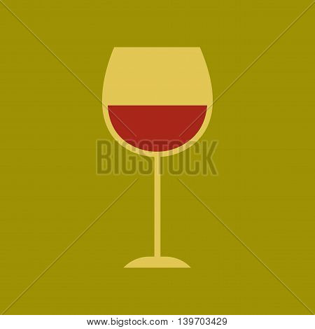 flat icon on stylish background glass of wine