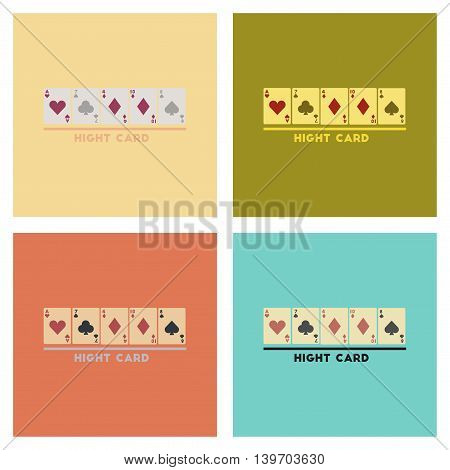 assembly of flat icons poker high card