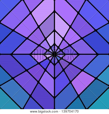 abstract vector stained-glass mosaic background - blue and violet rhombus