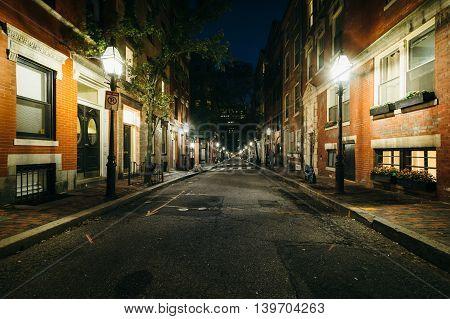 A Street At Night, In Beacon Hill, Boston, Massachusetts.