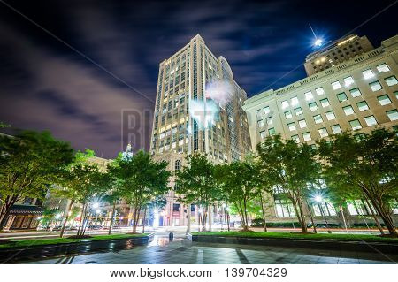 Buildings At Copley At Night, In Back Bay, Boston, Massachusetts.