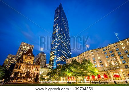 Buildings At Copley Square At Night, In Back Bay, Boston, Massachusetts.