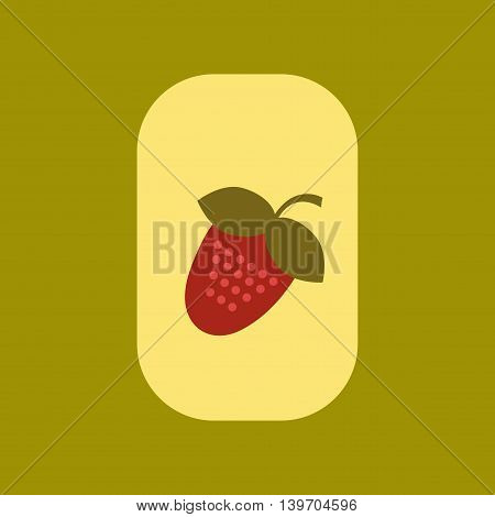 flat icon on stylish background poker Strawberry natural