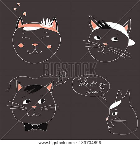 Illustration with the image of four cats and text Who do you choose on a gray background