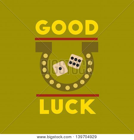 flat icon on stylish background poker good luck logo