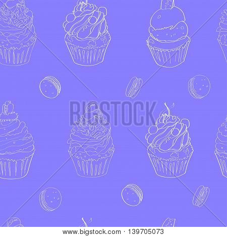 illustration with the image of cakes. pattern made white outline on a bright blue background