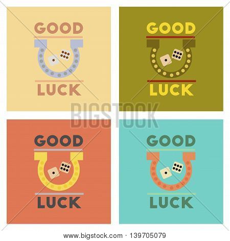 assembly of flat icons poker good luck logo