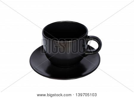 Empty  black cup of coffee with white background.