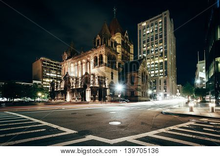 Trinity Church And The Intersection Of Saint James Avenue And Trinity Place, In Back Bay, Boston, Ma