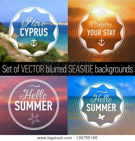 Summer posters with blurred seaside background and designed text. Set of Badges. Web-design templates. Vector illustration.