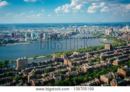 View Of Back Bay And The Charles River, In Boston, Massachusetts.