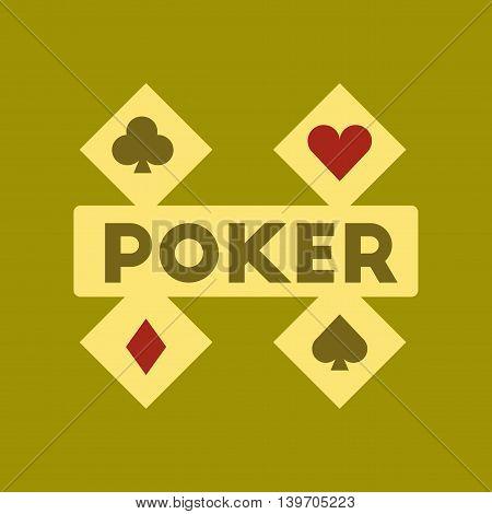 flat icon on stylish background logotype poker logo
