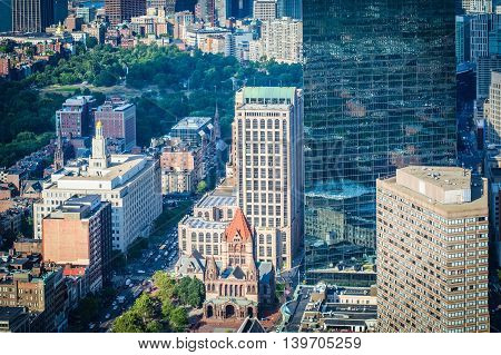 View Of Copley Square, In Back Bay, Boston, Massachusetts.