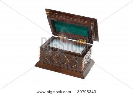 Open small box of wood on the white background