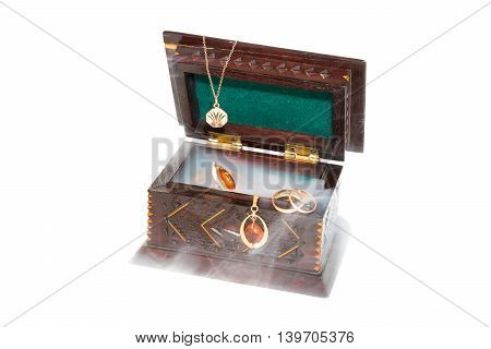 Open small box of wood on the white background with gold jewelery