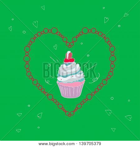 illustration with the image of a cake in a frame in the shape of a heart on a bright green background
