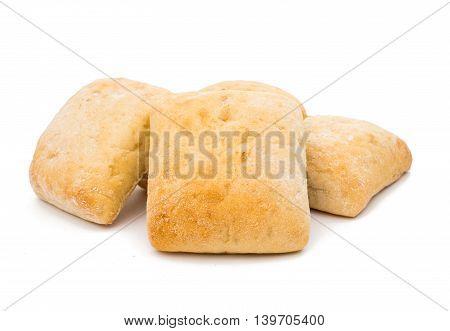 Ciabatta (Italian bread) isolated on a white background