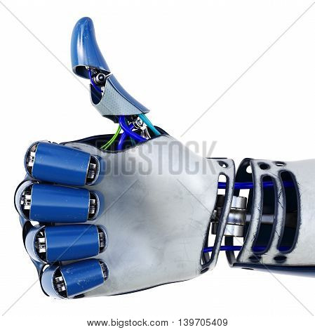 Robot arm with thumb up. Isolated on white background. 3D illustration.