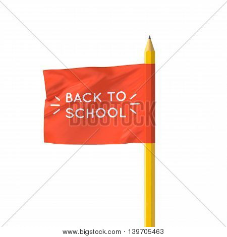 Realistic 3D poster flag Back to school