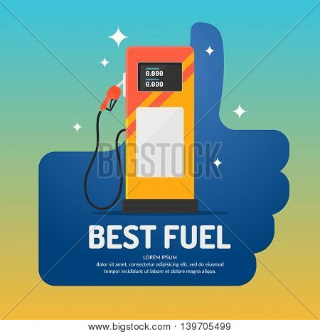 Bright advertising poster on the theme of gas station. Vector illustration.
