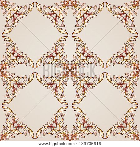 Square floral patterns of brown henna on beige background