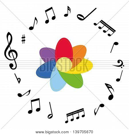 Black music notes with colourful flower on the white background.  Vector.