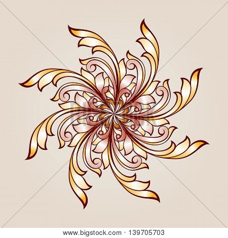 Flower pattern of brown and golden henna on beige background