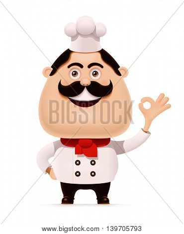 Vector chef with mustache showing approving gesture icon