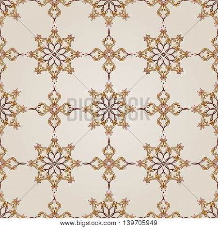 Seamless floral pattern of the brown henna on beige background