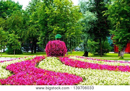 Summer park landscaping view - flowerbed with landscaping element in form of big apple covered with pink begonia flowers. Unusual funny landscaping in the summer park.