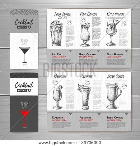 Vector illusration of Vintage cocktail menu design. Document template