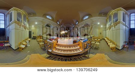 CLUJ-NAPOCA, ROMANIA - March 20: 360 panorama of the organist's view of the interior of Piarist' Catholic Church  on March 20th, 2016, in Cluj-Napoca, Transylvania, Romania