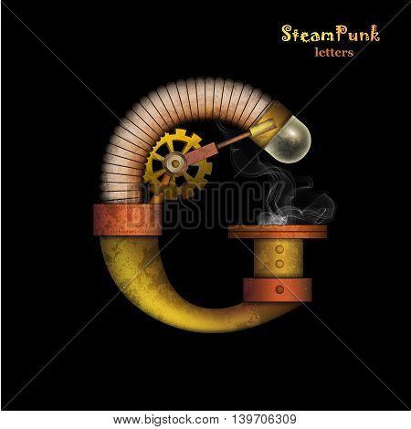 Steam punk letter. Realistic design. Vector illustration.