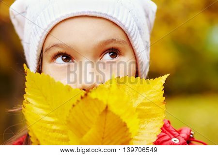 portrait of a beautiful smiling teenage girl with yellow leaves in autumn