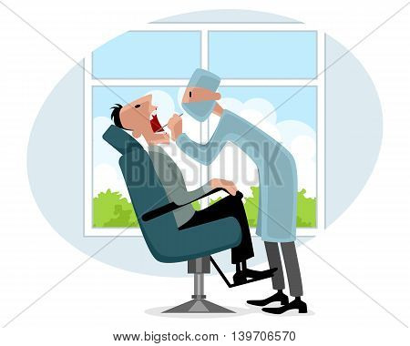 Vector illustration of a dentist and patient