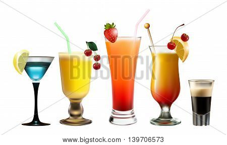 Illustration of various alcoholic cocktails set isolated