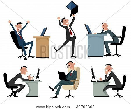 Vector illustration of a six businessmen at workplaces