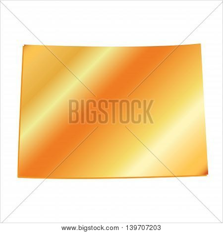 3D Colorado (USA) Gold outline map with shadow