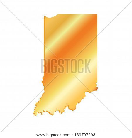 3D Indiana State USA Gold Outline Map, vector