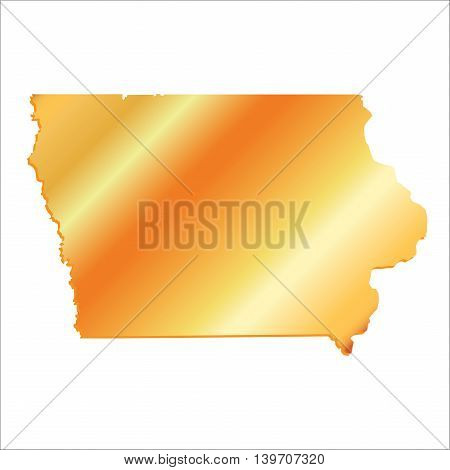 3D Iowa (USA) Gold map with shadow