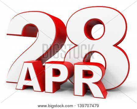 April 28. 3D Text On White Background.